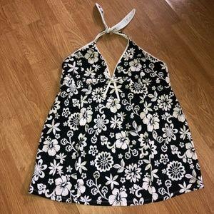Motherhood Tankini Top XL Black White Floral Print